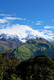"View of ""Fish Tail"" mountain, trek to base camp Annapurna"