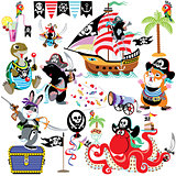 set with cartoon pirates