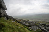 Landscape over Dartmoor National Park in Autumn with rocks and f