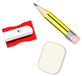 pencil, sharpener and eraser
