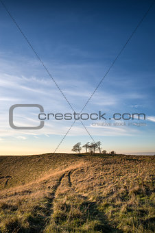 Autumn sunset over countryside landscape