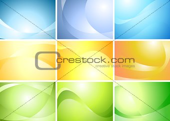 Abstract wavy banners vector set