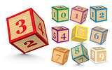 Vector wooden number blocks