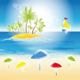 Sand beach, small island.