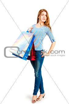 beautiful girl with lots of shopping bags