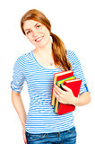 beautiful student with books smiling