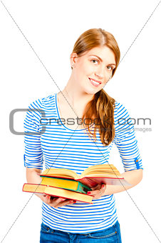 beautiful young girl with an open book