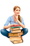 brunette with a stack of books to learn the subject