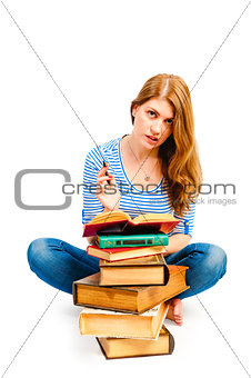 tortured girl with books makes lessons