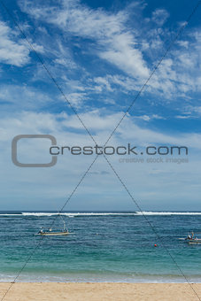 Beautiful tropical beach with lush vegetation