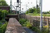Empty railroad tracks on scale bridge