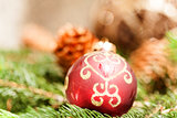 Red Christmas balls with pine cones