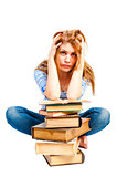 frustrated student and lots of books