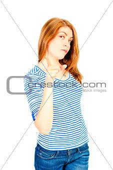 beautiful 25 year old girl posing in studio