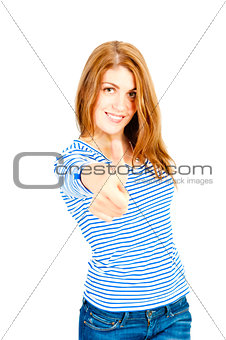 charming girl in studio posing on a white background