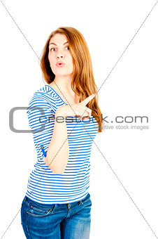 beautiful girl on a white background in the studio shows
