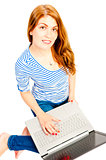 charming girl with a computer on white background