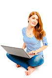 woman in striped blouse for laptop on a white background