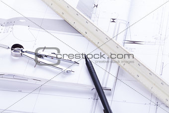 architect blueprints equipment objects workplace