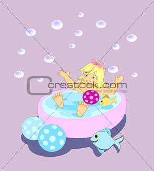 Bathing little Girl