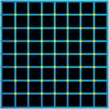 Optical illusion with yellow dots