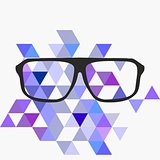 Nerd glasses on grey background with triangle flat surface mosaic.