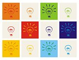 Light bulb vector icon set - hand drawn colorful doodle collection isolated on white