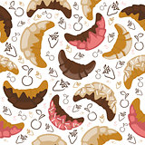 Seamless croissant background
