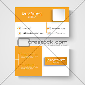 Modern sample orange business card template