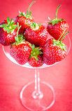 Fresh strawberries in martini glass