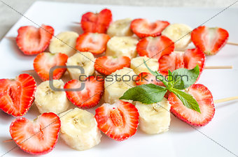 Fresh strawberry and banana skewers