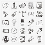 doodle communication icons set