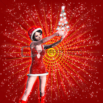 3d woman in Christmas dress