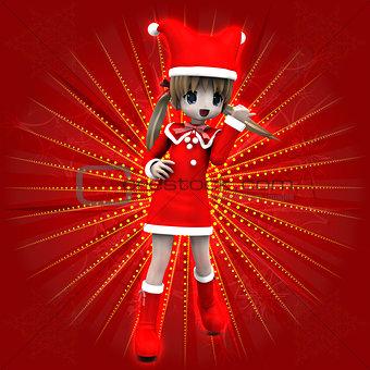 Anime girl in Christmas dress