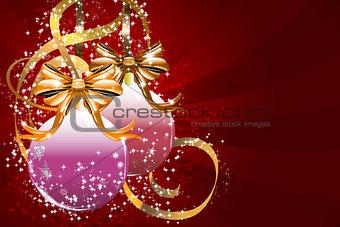 Christmas balls and golden ribbons