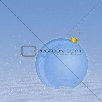 Blue ball on snow
