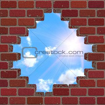 Broken brick wall and sky