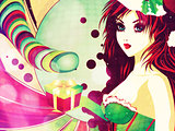 Candy background with Santa girl
