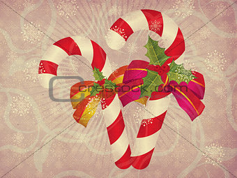 Candy canes retro background