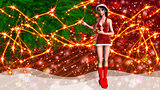 Christmas background with girl in santa hat