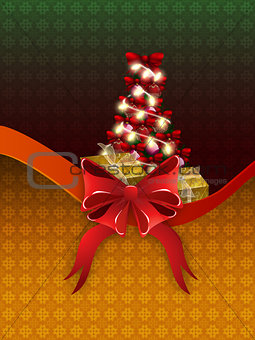 Christmas card with gift boxes and tree