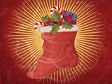 Christmas sock vintage background