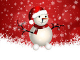 Cute snowman on red background