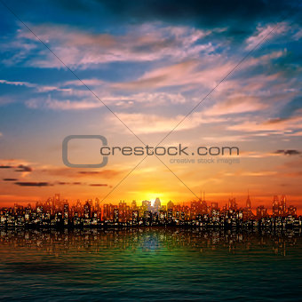 abstract nature background with panorama of city and sunset