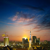 abstract background with panorama of Tallinn and sunset