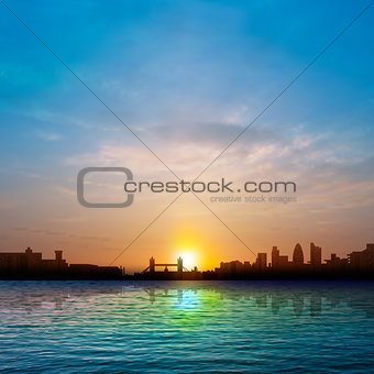 abstract nature background with silhouette of London