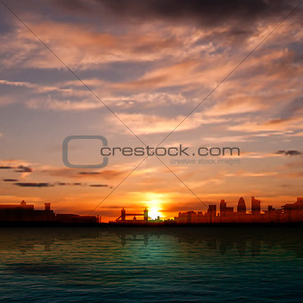 abstract nature background with silhouette of London and sunrise