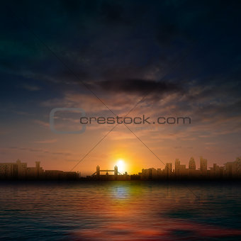 abstract nature dark background with silhouette of London