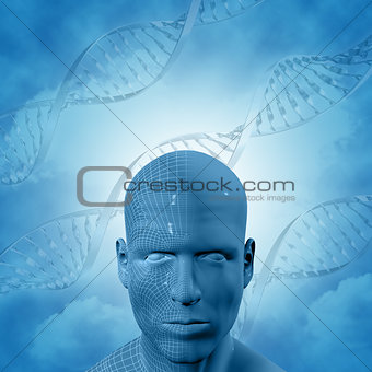 3D medical background with DNA strands and male face