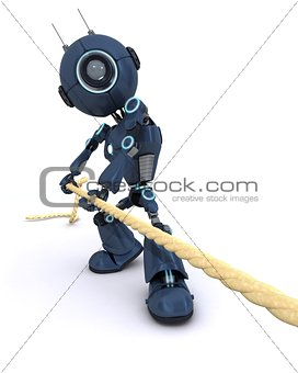 Android pulling on a rope